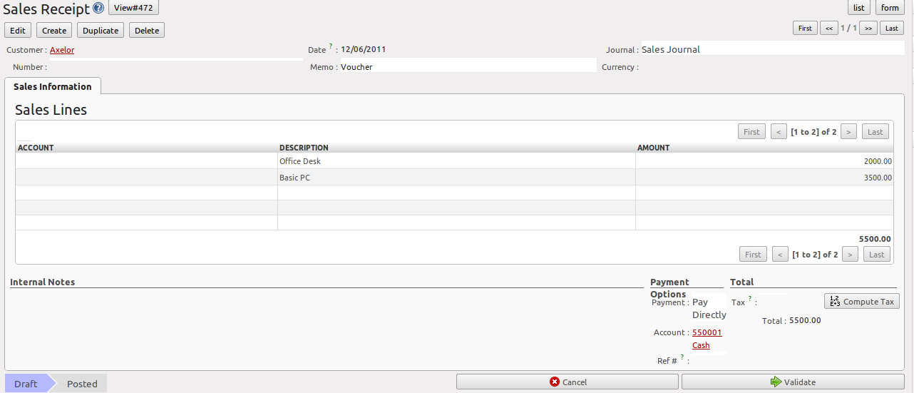 Simple Customer Receipts Openerp For Accounting And